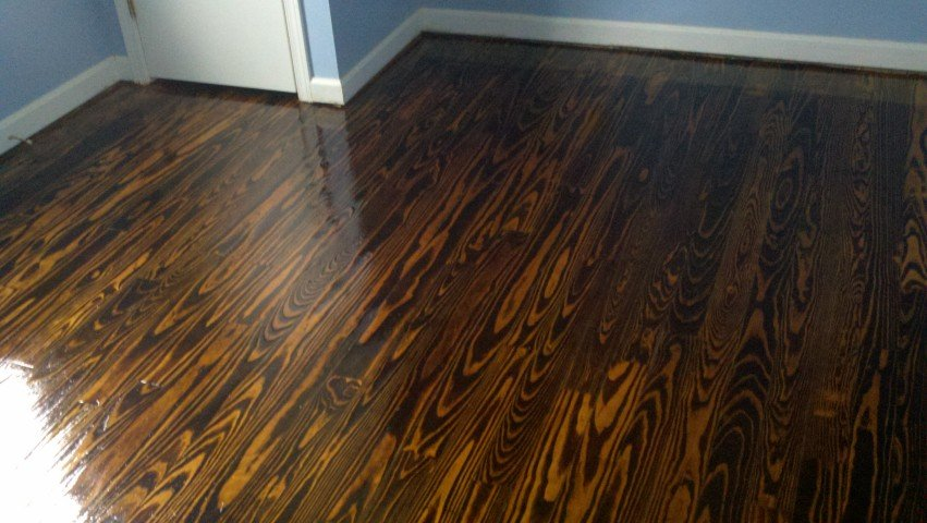 a recently refinished hardwood floor in the detroit area
