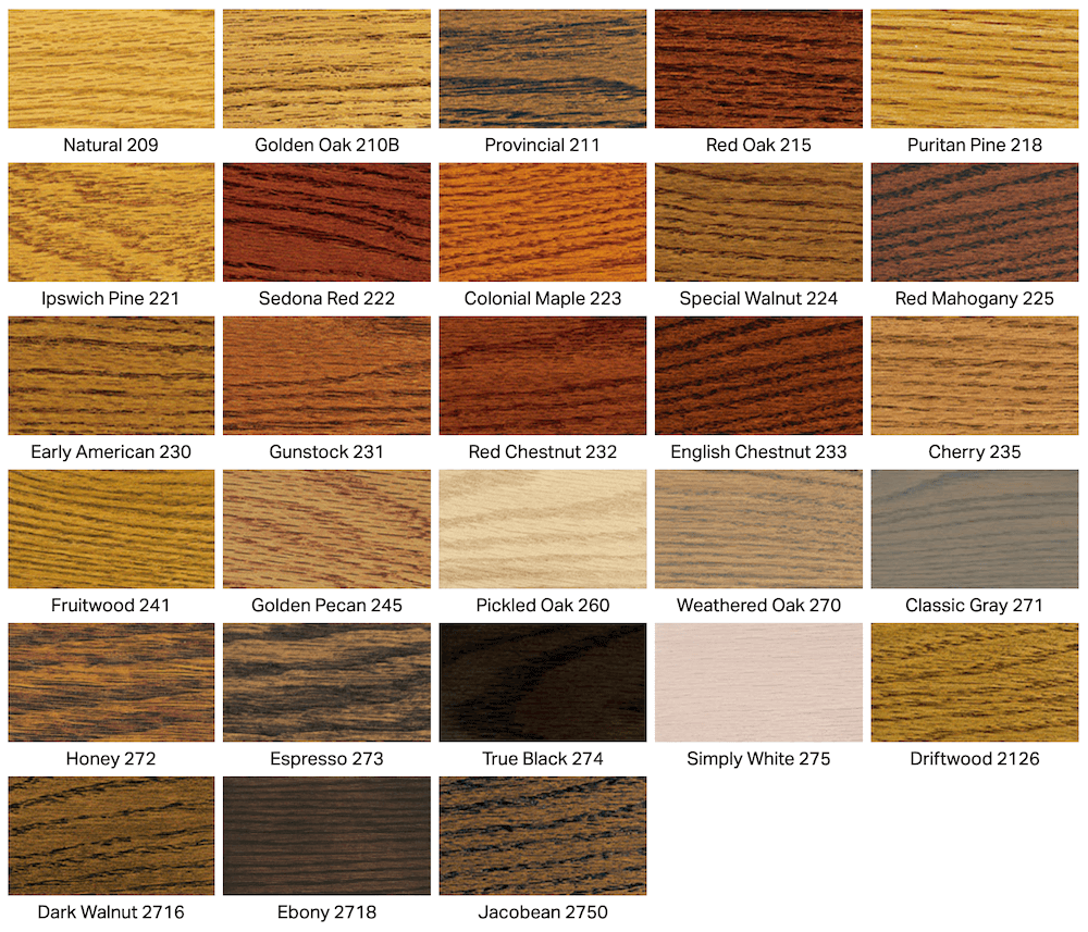 different stain colors paired with different types of wood