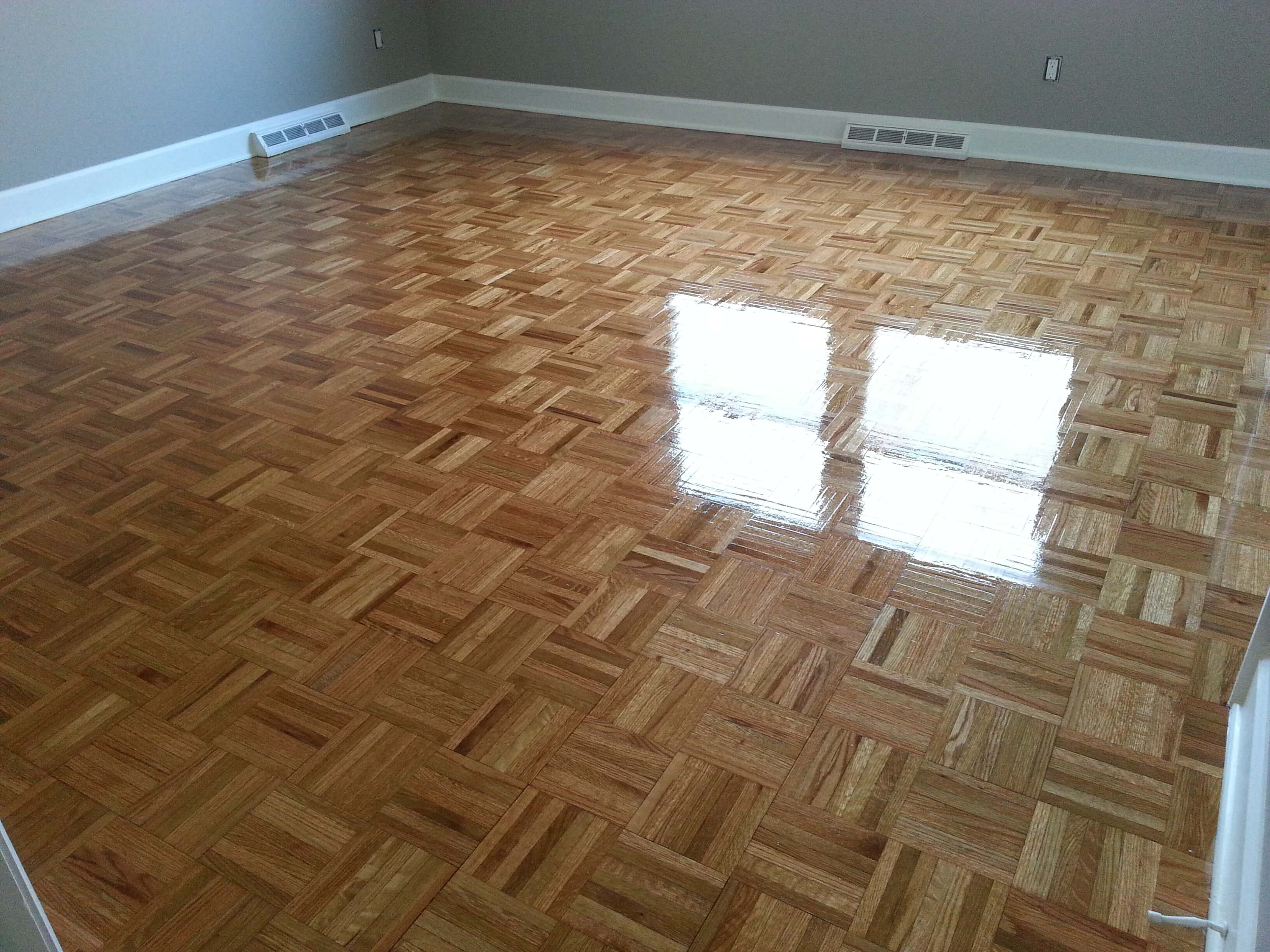 A refinished parquet floor done by Fabulous Floors Michigan