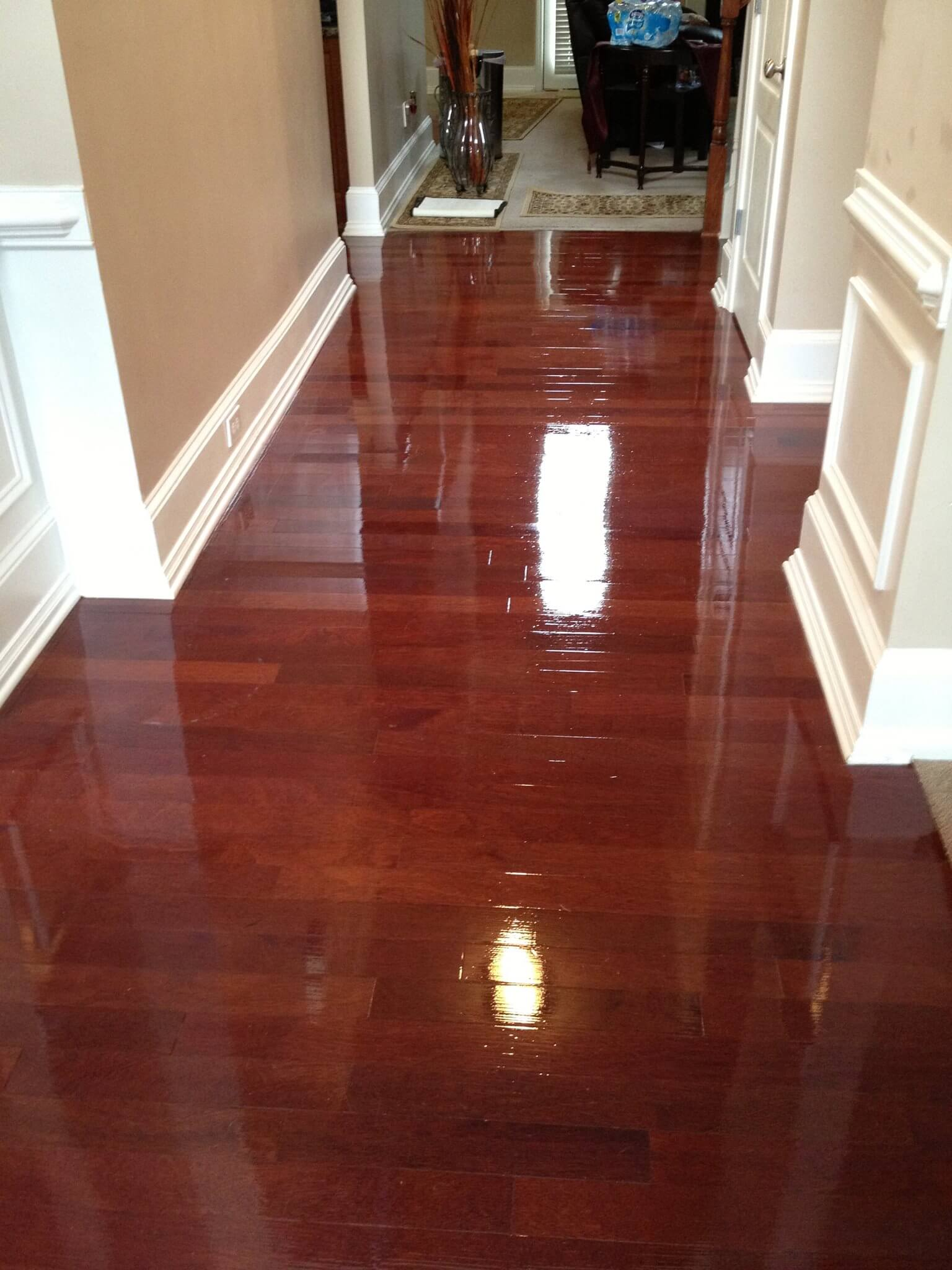 a refinished and shining hardwood floor