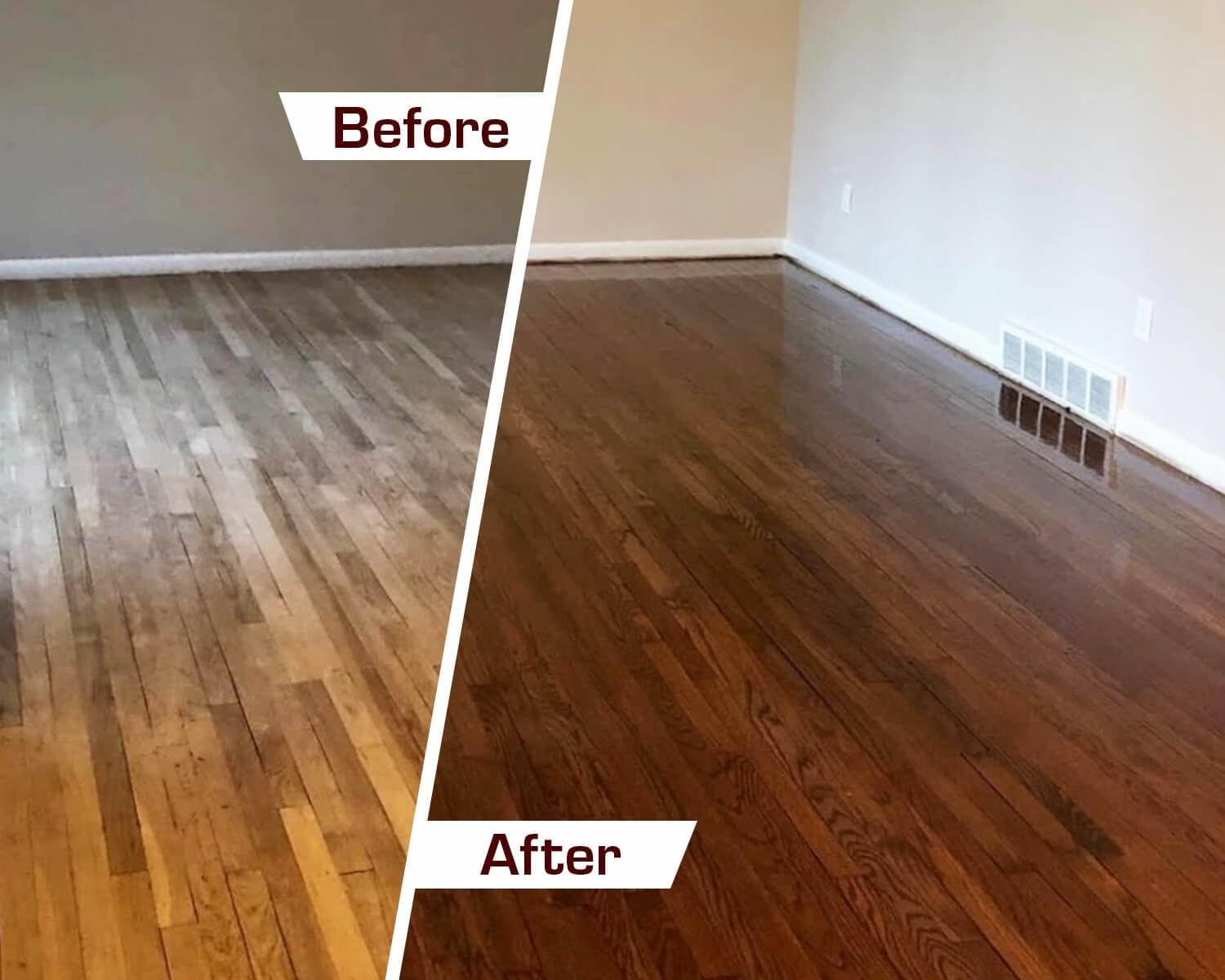 Before and after hardwood floor refinishing in troy, mi
