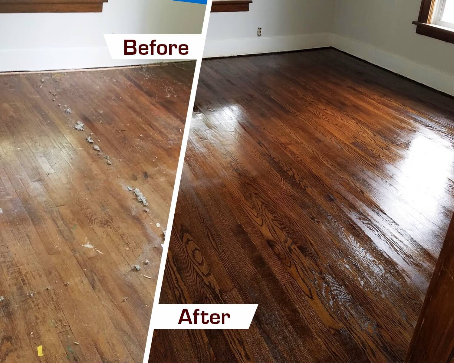 before and after hardwood floor refinishing in Southfield, MI
