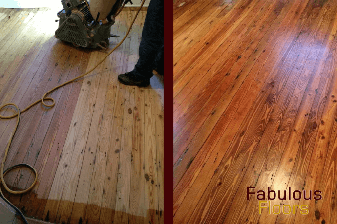 before and after hardwood floor refinishing in Detroit, MI
