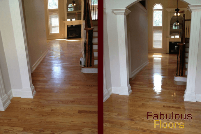 Before and after hardwood floor resurfacing in Detroit, MI
