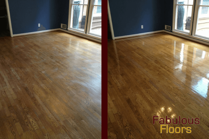 before and after hardwood floor refinishing in Pontiac, MI