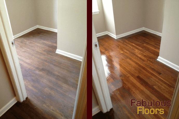 Before and after hardwood floor refinishing in Warren, MI