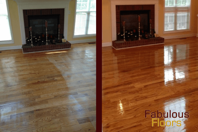 Before and after hardwood floor refinishing in Franklin, MI